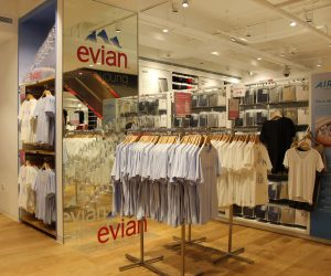 Uniqlo evian instore display POS bespoke props retail design acrylic display