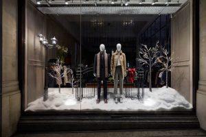 Aquascutum window display retail display VM prop manufacture Christmas London
