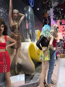 missguided disco ball banana mermaid tail mannequin fashion instore display bluewater bespoke prop manufacturer visual merchandising retail design