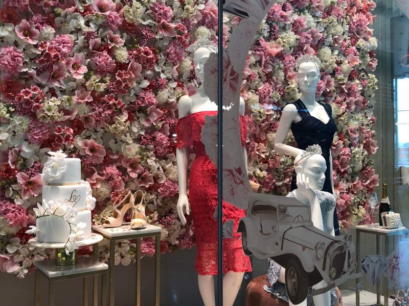 Lipsy fashion bespoke westfield flowers floral prop manufacture visual merchandising production window display