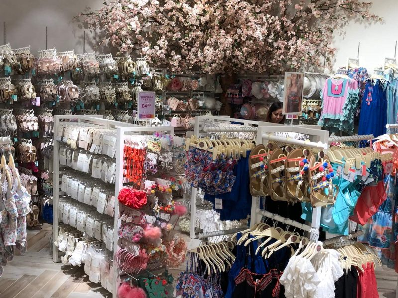 Monsoon kids bespoke Westfield cherryblossom floral prop manufacture visual merchandising production fake tree instore