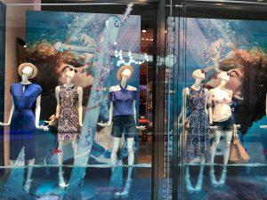 Oasis fashion make a splash window display instore bespoke props prop manufacture visual merchandising fashion