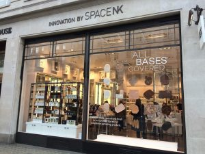 SpaceNK beauty makeup window display bespoke prop manufacture visual merchandising makeup modelmaking