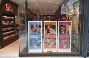 Lindt boutique windows fruit sensations new launch bespoke prop manufacture visual merchandising plinth production