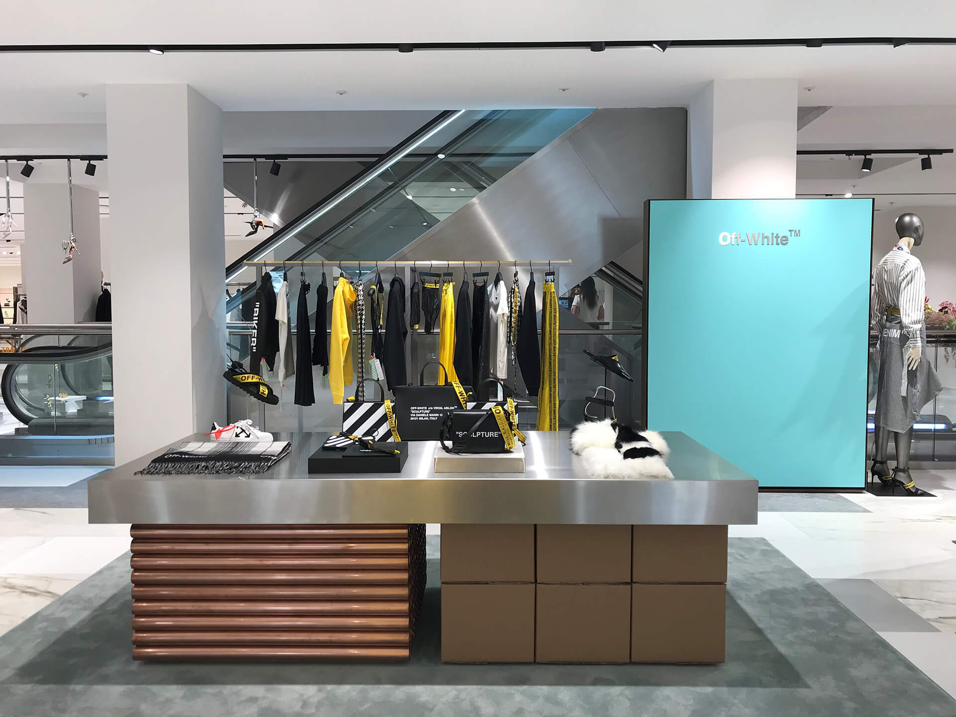 Harvey Nichols instore new launch bespoke prop copper tubing harvey nichols prop manufacture visual merchandising production