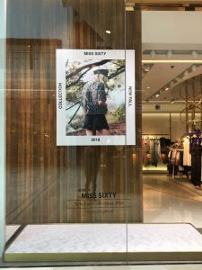 Miss Sixty - AW18 windows new launch bespoke prop angel wing gold dipped feathers prop manufacture visual merchandising brompton road