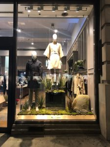 Aquascutum fashion bespoke prop manufacture moss reeds mirror plinths artificial rocks visual merchandising production window display