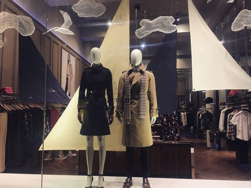 Aquascutum fashion bespoke prop manufacture visual merchandising production window display sails clouds