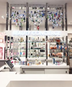 space nk new store launch kings cross bespoke prop product chandelier mirror innovative prop manufacture visual merchandising production