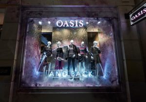 Oasis - Hello Flamingo, Moons, Neon, London, visual merchandising, window display