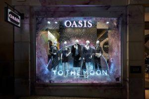 Oasis - Hello Flamingo, Moons, Neon, London, visual merchandising, window display