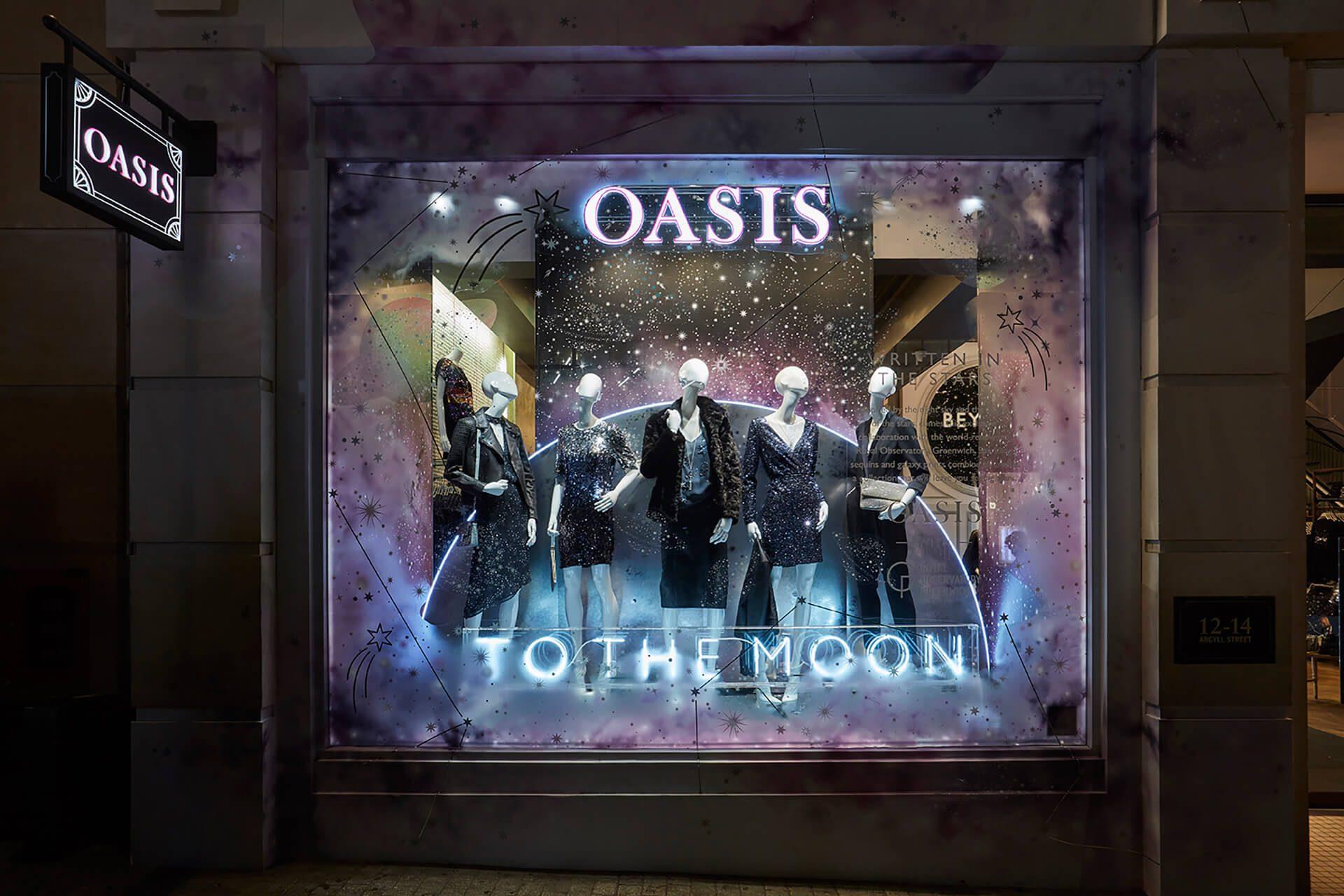 Oasis – Hello Flamingo, Moons, Neon, London, visual merchandising, window display