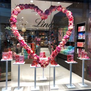 Lindt valentines new launch bluewater bespoke prop giant heart metalwork artificial flowers prop manufacture visual merchandising production