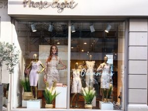Phase Eight Spring Windows fashion bespoke James Street seagrass baskets grasses pampas reeds moss prop prop manufacture visual merchandising production window display