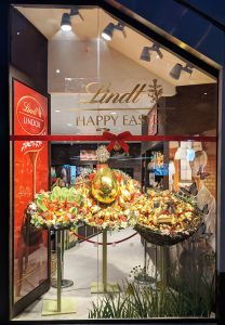 Lindt easter new launch chocolate bunnies bespoke prop giant nest giant easter egg basket carrots styling artificial flowers prop manufacture visual merchandising production