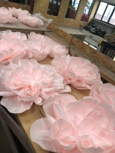 pink paper flower peony fashion bespoke logos pro prop manufacture visual merchandising production window display retail