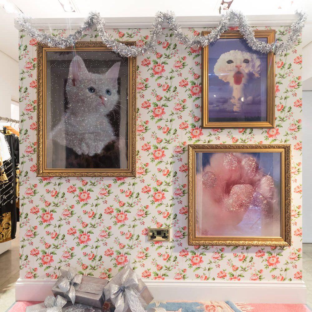 Browns+Hello Flamingo+Christmas+Window Display+VM+Sara Shakeel+Crystals+Wallpaper+carpet+kitsch+glitter kittens+visual merchandising (9)